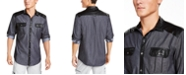 INC International Concepts I.N.C. Men's Regular-Fit Colorblocked Utility Shirt with Faux-Leather Piecing, Created For Macy's
