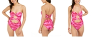 Hula Honey Juniors' Hana Beach Tie-Dye Printed Cut-Out One-Piece Swimsuit, Created for Macy's