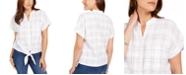 Charter Club Windowpane-Print Tie-Waist Top, Created for Macy's