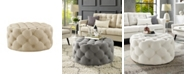 INSPIRED HOME Bella Upholstered Tufted Allover Round Cocktail Ottoman