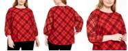 Calvin Klein Plus Size Plaid Sheer-Sleeve Top