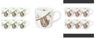 Royal Worcester Wrendale Hanging Around Sloth Mug Set/6