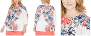 Charter Club Plus Size Floral-Print Top, Created for Macy's