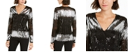 INC International Concepts INC  Surplice Sequined Stripe Blouse, Created For Macy's