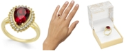 Charter Club Gold-Tone Pavé & Stone Pear Halo Ring, Created For Macy's