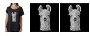 LA Pop Art Women's Dolman Cut Word Art Shirt - Llama
