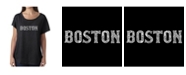 LA Pop Art Women's Dolman Cut Word Art Shirt - Boston Neighborhoods