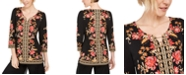 JM Collection Petite Printed Toggle Neck Tunic, Created For Macy's