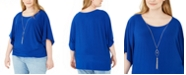 NY Collection Plus Size Flutter-Sleeve Necklace Top