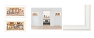 """Trendy Decor 4U My Happy Place 2-Piece Vignette by Mary June, White Frame, 21"""" x 12"""""""