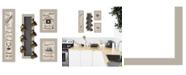 "Trendy Decor 4U Kitchen Collection VII 4-Piece Vignette with 7-Peg Mug Rack by Millwork Engineering, Sand Frame, 10"" x 32"""
