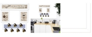 "Trendy Decor 4U Trendy Decor 4U Kitchen Collection IV 4-Piece Vignette with 7-Peg Mug Rack by Millwork Engineering, White Frame, 32"" x 10"""