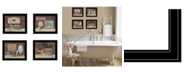 "Trendy Decor 4U Bathroom Collection II 4-Piece Vignette by Pam Britton, Black Frame, 17"" x 14"""