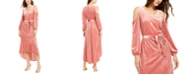 NY Collection Petite Velvet Cold-Shoulder Tie-Waist Dress