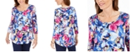 JM Collection Ascension Flora Printed 3/4-Sleeve T-Shirt, Created for Macy's