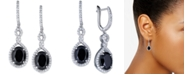 Macy's Onyx (9 x 7mm) & Cubic Zirconia Halo Drop Earrings in Sterling Silver