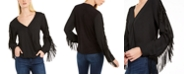 INC International Concepts INC Surplice Fringe-Sleeve Top, Created For Macy's
