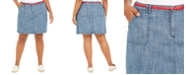 Karen Scott Plus Size Belted Chambray Skort, Created for Macy's