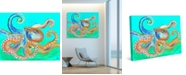 """Creative Gallery Eight Arms Yellow Blue Octopus 20"""" x 16"""" Canvas Wall Art Print"""