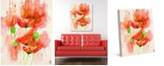"""Creative Gallery Red Watercolor Poppies Abstract 36"""" x 24"""" Canvas Wall Art Print"""