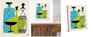 "Creative Gallery Retro Glass Lime Green Blue 36"" x 24"" Canvas Wall Art Print"