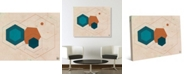 "Creative Gallery Retro Cerulean Core Hexagons Abstract 24"" x 20"" Canvas Wall Art Print"