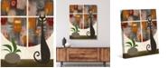 "Creative Gallery Retro City Cat Plant in Rust Orange 24"" x 20"" Canvas Wall Art Print"