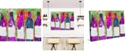 """Creative Gallery Line Of Wine Bottles in Magenta on Green Abstract 20"""" x 16"""" Canvas Wall Art Print"""