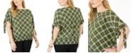 Michael Kors Plus Size Plaid Tie-Sleeve Top