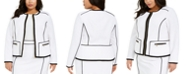 Calvin Klein Plus Size Contrast Piping Zip-Up Jacket