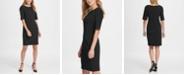 DKNY Elbow Sleeve Seamed Compression Sheath Dress