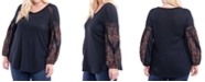 Fever Plus Size Waffle-Knit Contrast-Sleeve Top