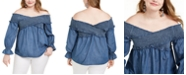 INC International Concepts INC Plus Size Shirred Bell-Sleeve Top, Created For Macy's