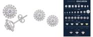 Macy's Certified Diamond 1 ct. t.w. Halo Stud Earrings in 14k White Gold