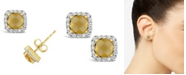 Macy's Citrine (1 ct. t.w.) and Created White Sapphire (1/5 ct. t.w.) Halo Stud Earrings in 10k Yellow Gold