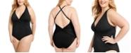 Bleu by Rod Beattie Trendy Plus Size Plunging Halter One-Piece Swimsuit