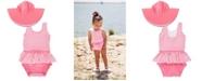 RuffleButts Toddler Girl's Skirted Swimsuit Swim Hat Set