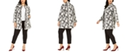 Nine West Plus Size Jacquard Stand-Collar Open-Front Jacket