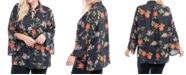 Fever Plus Size Floral-Print Tie-Neck Tunic