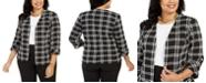 Kasper Plus Size Plaid Open-Front Jacket