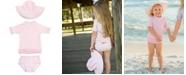 RuggedButts RuffleButts Toddler Girls Seersucker 2-Piece Rash Guard Swimsuit Swim Hat Set