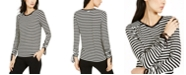 Michael Kors Drawstring-Cuff Striped Top