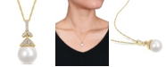 "Macy's South Sea Cultured Pearl (10-10.5mm) and Diamond (1/10 ct. t.w.) Vintage 17"" Necklace in 14k Yellow Gold"