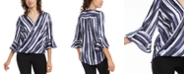 BCX Juniors' Striped Bell-Sleeved Top