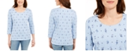 Karen Scott Petite Cat-Print Top, Created For Macy's