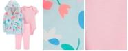Carter's Baby Girls 3-Pc. Floral-Print Hoodie, Striped Bodysuit & Leggings Set
