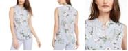 Calvin Klein Floral Button-Up Sleeveless Blouse