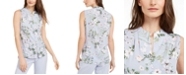Calvin Klein Petite Floral Button-Up Blouse