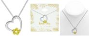 "Kona Bay Flower Accent & Heart Pendant Necklace in Fine Silver-Plate, 16"" + 2"" extender"