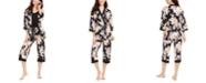 Linea Donatella Floral-Print Robe, Cami & Capri Pants 3pc Pajama Set